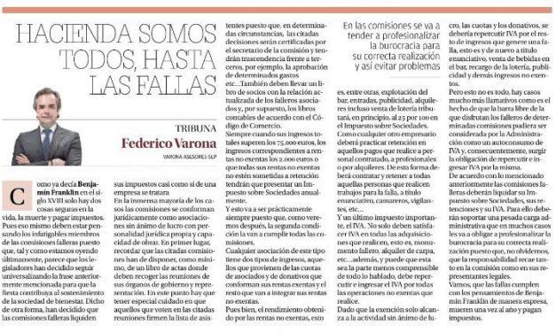 FEDERICO VARONA REFLEXIONA EN LEVANTE-EMV SOBRE LA FISCALIDAD DE LAS FALLAS